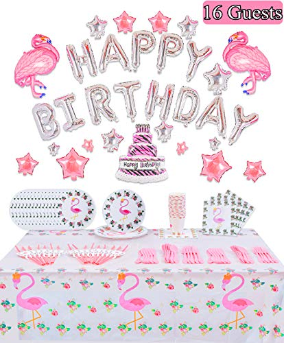 - Flamingo Party Supplies Birthday Decoration - for 16 Guests Flatware, Spoons,Plates,Cups,Straws,Banner,Table Cover,Balloons Napkins Pink Birthday Party Favor Set for Girls Kids Serves 16 Guest