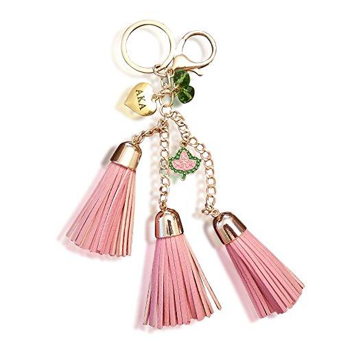 Alpha Kappa Alpha Sorority AKA Leather Tassel Keychain Paraphernalia Gift Leather Tassel Key Ring