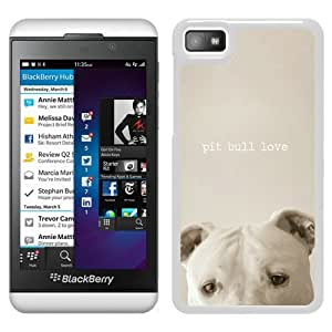 Beautiful Designed Cover Case For Blackberry Z10 With pit bull love White Phone Case