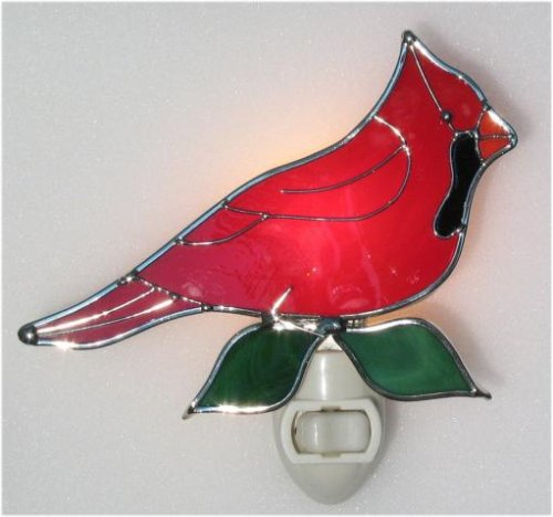 Night Cardinals Glass Light (Stained Glass Red Cardinal Bird Night Light with Light Sensor Base)