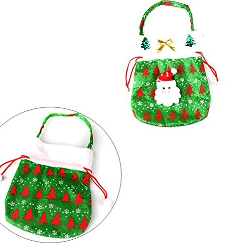 MONOMONO-New Santa Claus Snowman Christmas Candy Gift Stroage Bag Xmas Party Decoration (green)