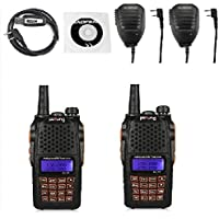 2 Pack Baofeng Pofung 2015 UV-6R Dual-Band Two-Way Radio Transceiver 136-174/400-520MHz High Power 5W/1W, 65-108MHz FM Two-Way Radio + 2 Remote Speaker + 1 Programming Cable