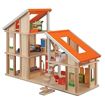Plan Toy Chalet Doll House With Furniture Plantoys Amazon Ca Toys