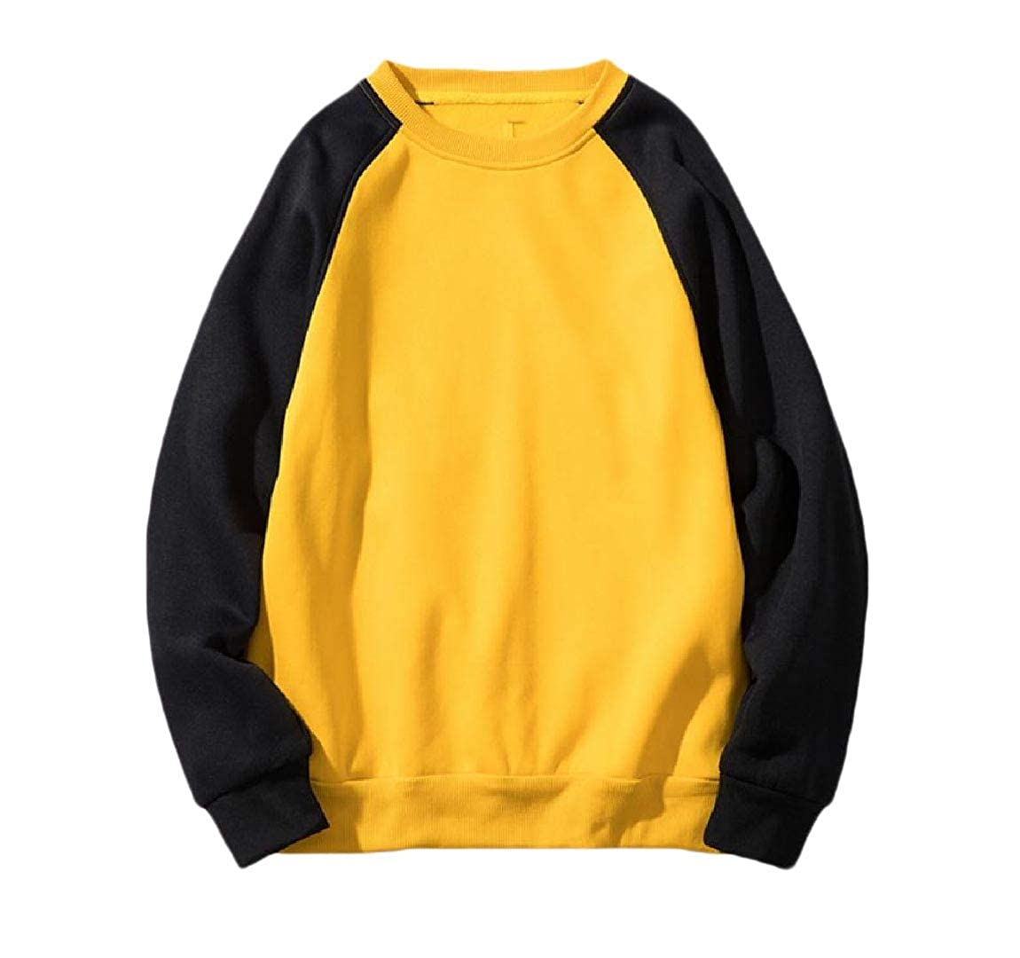 YUNY Mens Contrast Casual Raglan Sport Crew Neck Jacket Sweatshirts Yellow XL