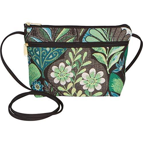Danny K Women's Tapestry Zipper Purse Crossbody Handbag, Adjustable Cord, Handmade in USA (Gardena)