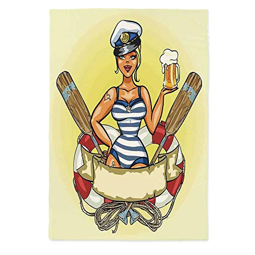 TecBillion Girls No Fading Tablecloth,Pin Up Sexy Sailor Girl Lifebuoy with Captain Hat and Costume Glass of Beer Feminine for Table Outdoor Picnic Holiday Dinner,60''W X 84''L