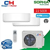 18,000 BTU 2 Zone Ductless Mini Split 21 SEER Sophia WiFi Ready (12k+12k) Energy Star