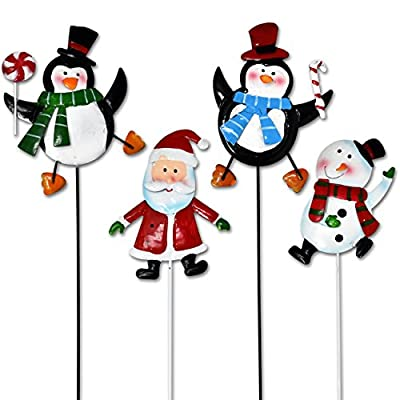 Christmas Yard Garden Stakes Decor, Set Of 4 Cheerful Characters 2 Penguins Snowman And Santa Claus Metal Signs for Home Outdoor Lawn Pathway Walkway Driveway Holiday Decorations by Gift Boutique