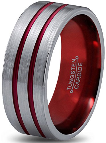 Double Tungsten Black Line (Chroma Color Collection Tungsten Wedding Band Ring 8mm for Men Women Red Grey Flat Double Line Pipe Cut Brushed Polished Size 12.5)