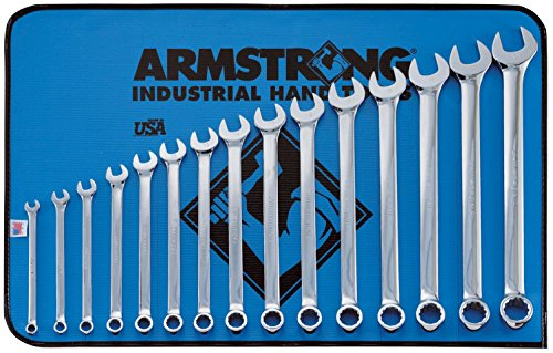 Armstrong 52-634 15 Piece 12 Point Metric Full Polish Long Combination Wrench Set - Armstrong Industrial Hand Tools
