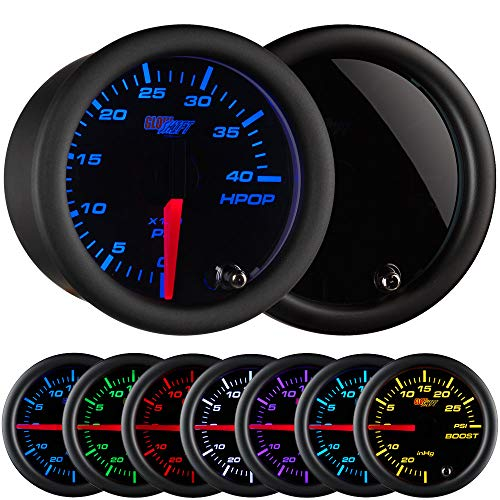 GlowShift Tinted 7 Color 4,000 PSI High Pressure Oil Pressure HPOP Gauge - for 1994-2003 7.3L & 2003-2007 6.0L Ford Power Stroke Diesel Engines - Black Face - Smoked Lens - 2-1/16