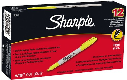 Sharpie Fine Point Permanent Markers, 12 Yellow Markers(30005)