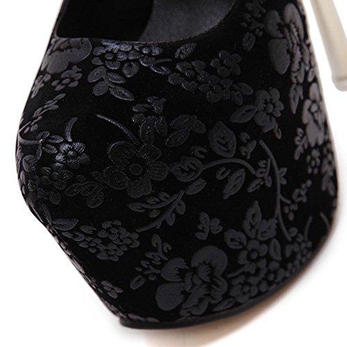 L@YC Frauen High Heels Fine 16cm Wasserdichte Tisch Nachtclub Blume Tanzkleid Schuhe Black