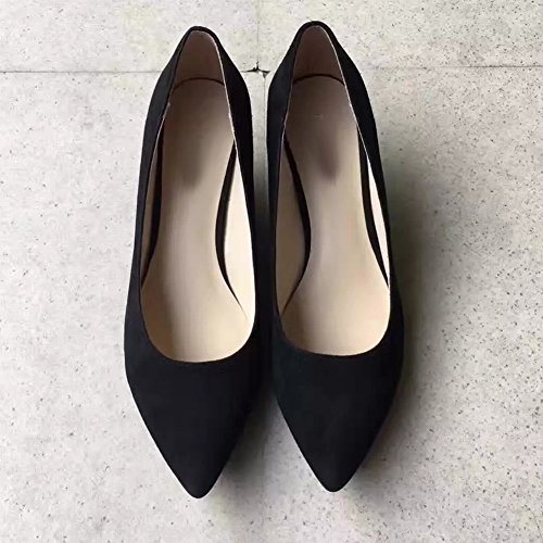 Shoes Mouth Shallow High Delicate Small Sheepskin Color with Shoes Grain Candy Wood Slope black Were Pointed EUR34 Thin Heels Women's R0qTYT