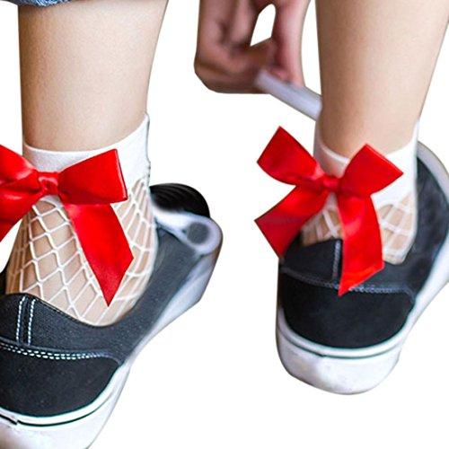 Creazy Women Ruffle Fishnet Ankle High Socks Mesh Lace Fish Net Short Socks (B)