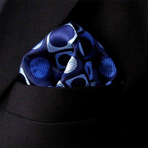 Shlax&Wing Pattern Multicolor Blue Black Pocket Square Mens Hankies Hanky