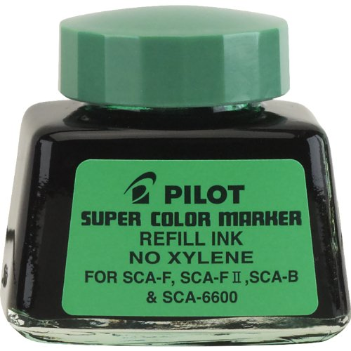 Pilot Super Color Permanent Marker Refill Ink, Xylene-Free, 1 Ounce Bottle with Dropper, Green Ink (48800) by Pilot