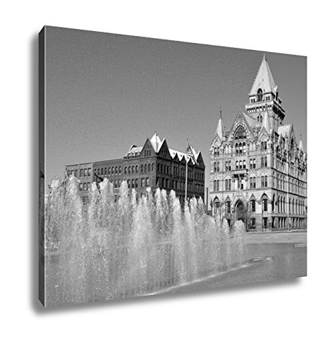 Ashley Canvas Syracuse Savings Bank Building Was Built In 1876 With Gothic Style At Clinton, Kitchen Bedroom Living Room Art, Black/White 24x30, AG6086029 (New Bank Syracuse America Of York)