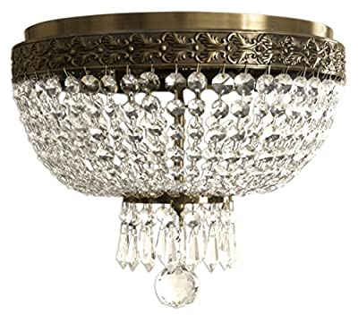 Royal Designs Clear K9 Quality Crystal Ceiling Flush Mount, 2 Lights