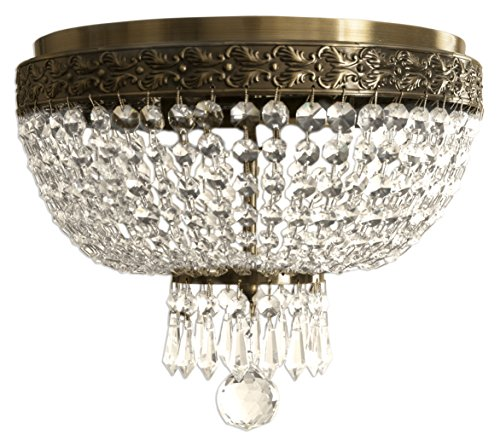 (Royal Designs Clear K9 Quality Elegant Antique Brass Round Crystal Ceiling Flush Mount-2 Lights)