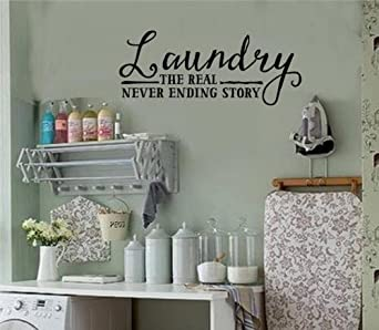 Laundry Room Decor Amazon.Laundry Never Ending Story Vinyl Decal Wall Stickers Letters Laundry Room Decor