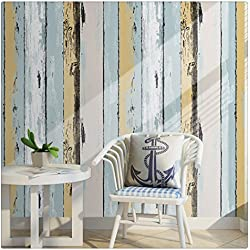 """HaokHome H005 Wood Panel Peel and Stick Wallpaper 23.6"""" x 19.7ft Yellow/Lt.Blue/Black/Cream Self Adhesive Contact Wall Decoration"""