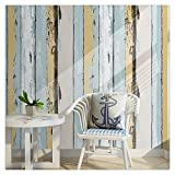 HaokHome H005 Wood Panel Peel and Stick Wallpaper 23.6'' x 19.7ft Yellow/Lt.Blue/Black/Cream Self Adhesive Contact Wall Decoration