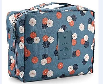 5eb6e12faa4e Toiletry Bag Multifunction Cosmetic Bag Toiletry Bag Bathroom Organizer  Carry On Case (Blue-Flower)
