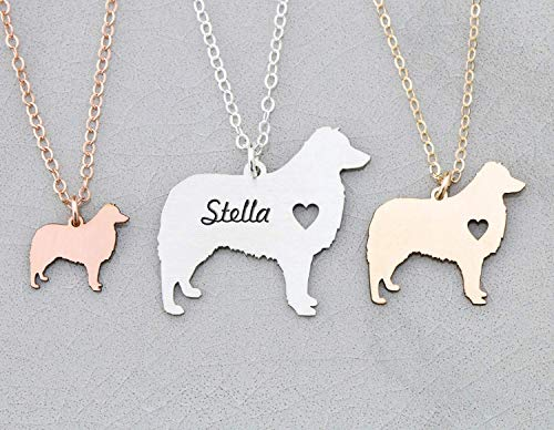 (Aussie Dog Necklace - IBD - Australian Shepherd - Personalize Name Date - Pendant Size Options - 935 Sterling Silver 14K Rose Gold Filled)