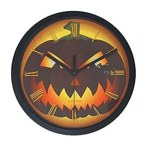 "Halloween Non-Ticking Quiet Wall Clock - 10"" Jack o Lantern"