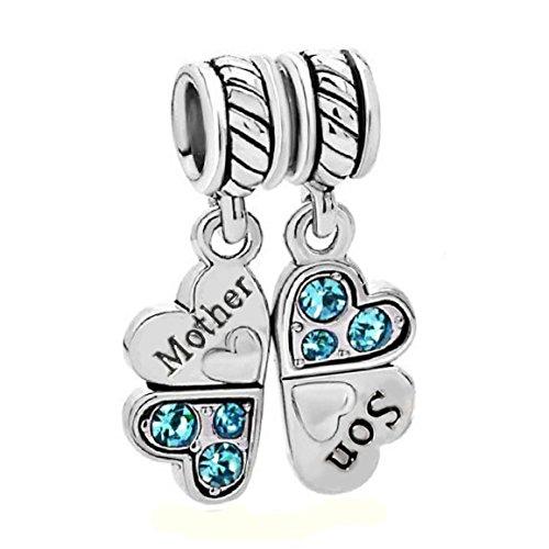 Sterling Silver Mother Son Love Heart Blue CZ Clover Family Dangle Bead F European Charm Bracelets