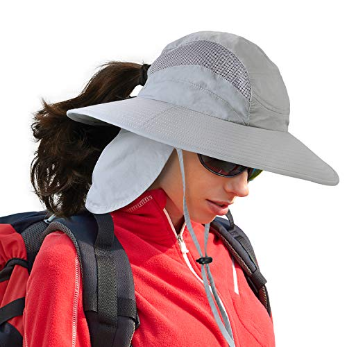 Fishing Hats for Men Women w/Ponytail Hole UV Sun Protection Wide Brim Boonie Hat with Removable Neck Flap for Safari Hiking Hunting Boating Gardening and Outdoor Adventures