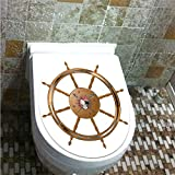Toilet Cover Decoration,Ships Wheel Decor,Wooden Steering Wheel with Image of Pirate Skull Seaman Lifestyle Oceanic Home,Brown Black,3D Printing,W12.6
