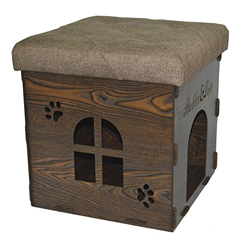 Fsobellaleo Linen KD Storage Ottoman Dog House Footrest Chair Brown 15.8