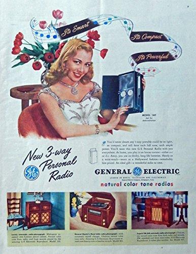 General Electric Radio, 40's vintage advertisement. Color Illustration ( model 140, 326, 304, 417) original 1947 Magazine Art (417 Magazine)