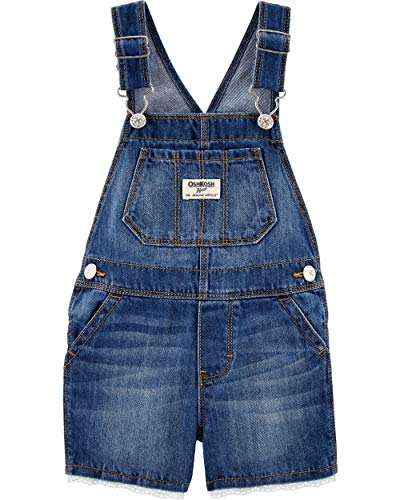 Osh Kosh Girls' Toddler World's Best Overalls, Denim Eyelet Shortall, 4T