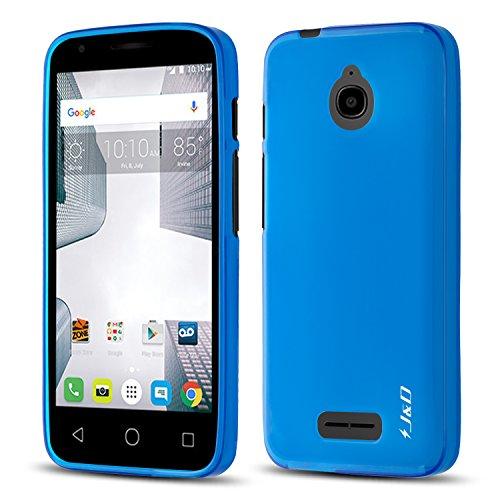 J&D Case Compatible for Alcatel Ideal Case, [Drop Protection] [Slim Cushion] Shock Resistant Protective TPU Slim Case for Alcatel Ideal Bumper Case - [Not for Alcatel Ideal Xcite] - Blue