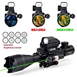 UUQ 4-16x50EG AR15 Tactical Rifle Scope Red/Green Illuminated Range Finder Reticle W/ Red Laser and Tactical Multi Optical Coated Holographic Dot Sight for 22mm Rail Mount