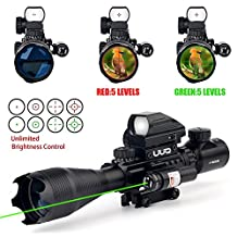 UUQ 4-16x50EG AR15 Tactical Rifle Scope Red/Green Illuminated Range Finder Reticle W/ GREEN Laser and Tactical Multi Optical Coated Holographic Dot Sight for 22mm Rail Mount (green)