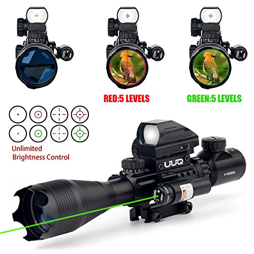 UUQ 4-16x50EG Tactical Rifle Scope Red/Green Illuminated Range Finder Reticle