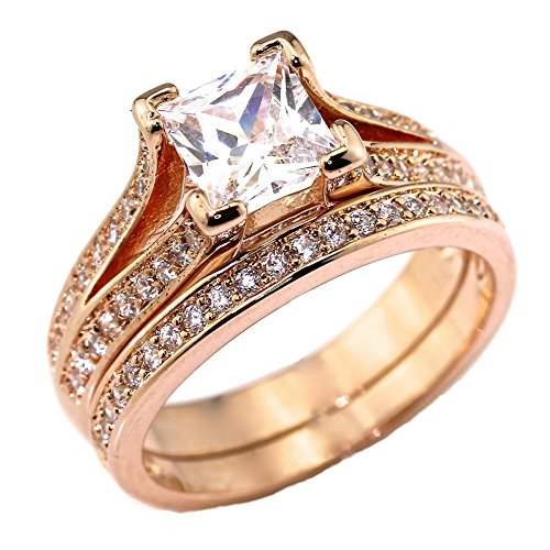 .75 CT Princess Cut Pave Cathedral Setting Rose Gold Plated Bridal Wedding Engagement Ring Set Size 7 (Rose Gold Engagement Ring Settings)