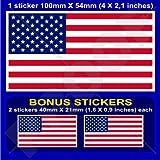 "USA United States America Flag American 4"" (100mm) Vinyl Bumper Sticker, Decal x1 +2 BONUS"