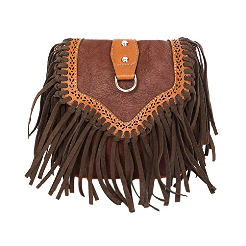 Bag Closure Leather Messenger Bag Adjustable Snap Single Soft fashion Magnetic Strap Tassel Stylish Zip Crossbody Flap Fringed Pu Bag LY® Coffee Shoulder OqwnvBRt