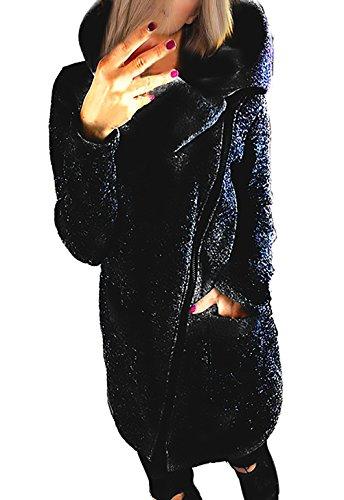 Outerwear Lunga Elegante Plus Cerniera Alto Pullover Donna Obliquo Casual Felpa Inverno Giacca Cappuccio Con Nero Autunno Collo Sweatshirt Giubbotto Manica Oversize Giacche c6xvqRw8f8