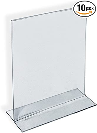 """Pack of 10 New Acrylic Double-Foot Two Sided Sign Holder 5.5/""""W x 8.5/""""H"""