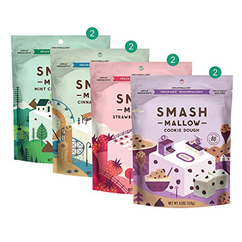 Smashmallow S'more Better Variety By Smashmallow | Snackable Marshmallows | Non-gmo, Organic Cane Sugar, Gluten-free | Pack Of 8 (4.5 Oz)