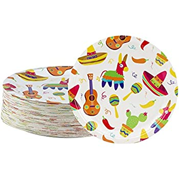 Disposable Plates - 80-Count Paper Plates Mexican Fiesta Party Supplies for Appetizer  sc 1 st  Amazon.com & Amazon.com: Disposable Plates - 80-Count Paper Plates Mexican ...