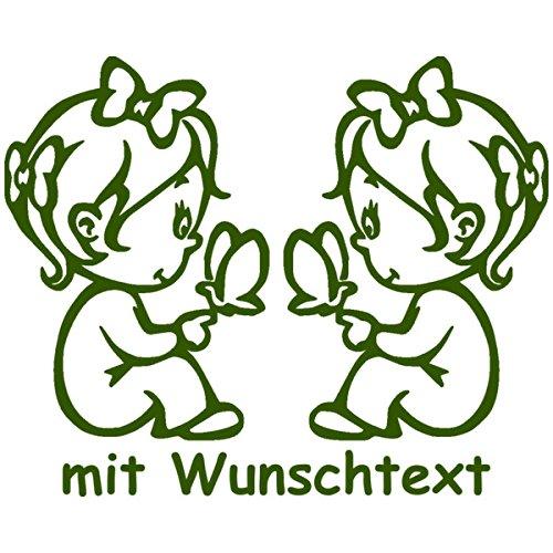 XL Babyaufkleber für Zwillinge mit Wunschtext - Motiv Z13-MM (25 cm) Unbekannt