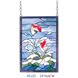 HF-123 Rural Vintage Tiffany Style Stained Church Art Glass Decorative Sea&Spray Theme Rectangle Window Hanging Glass Panel Suncatcher, 24''H16''W