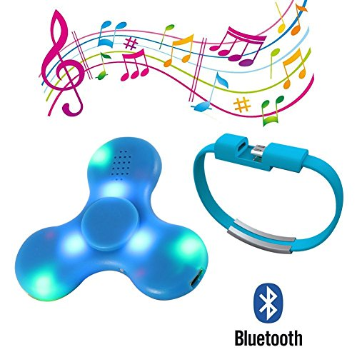 Mercu 2017 LED Light Switch MINI Bluetooth Speaker Music Fidget Spinner EDC Hand Spinner For Autism And Kids Adult Funny Fidget Toy (Blue)